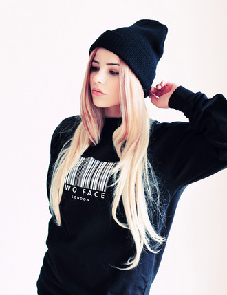 sweater black crewneck crewneck sweater barcode white bar code wo face london london hat winter sweater oversized sweater sexy sweater cute sweaters black and white b&w bonnet winter outfits clothes black sweatshirt jacket black sweater two faced baddies shirt blonde hair fab this sweater t-shirt