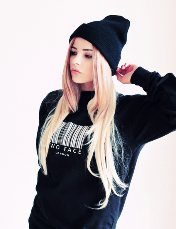 sweater black crewneck crewneck sweater barcode white bar code wo face london london hat winter sweater oversized sweater sexy sweater winter sweater cute sweaters black and white b&w bonnet winter outfits clothes black sweatshirt jacket black sweater two faced baddies shirt blonde hair fab this sweater t-shirt
