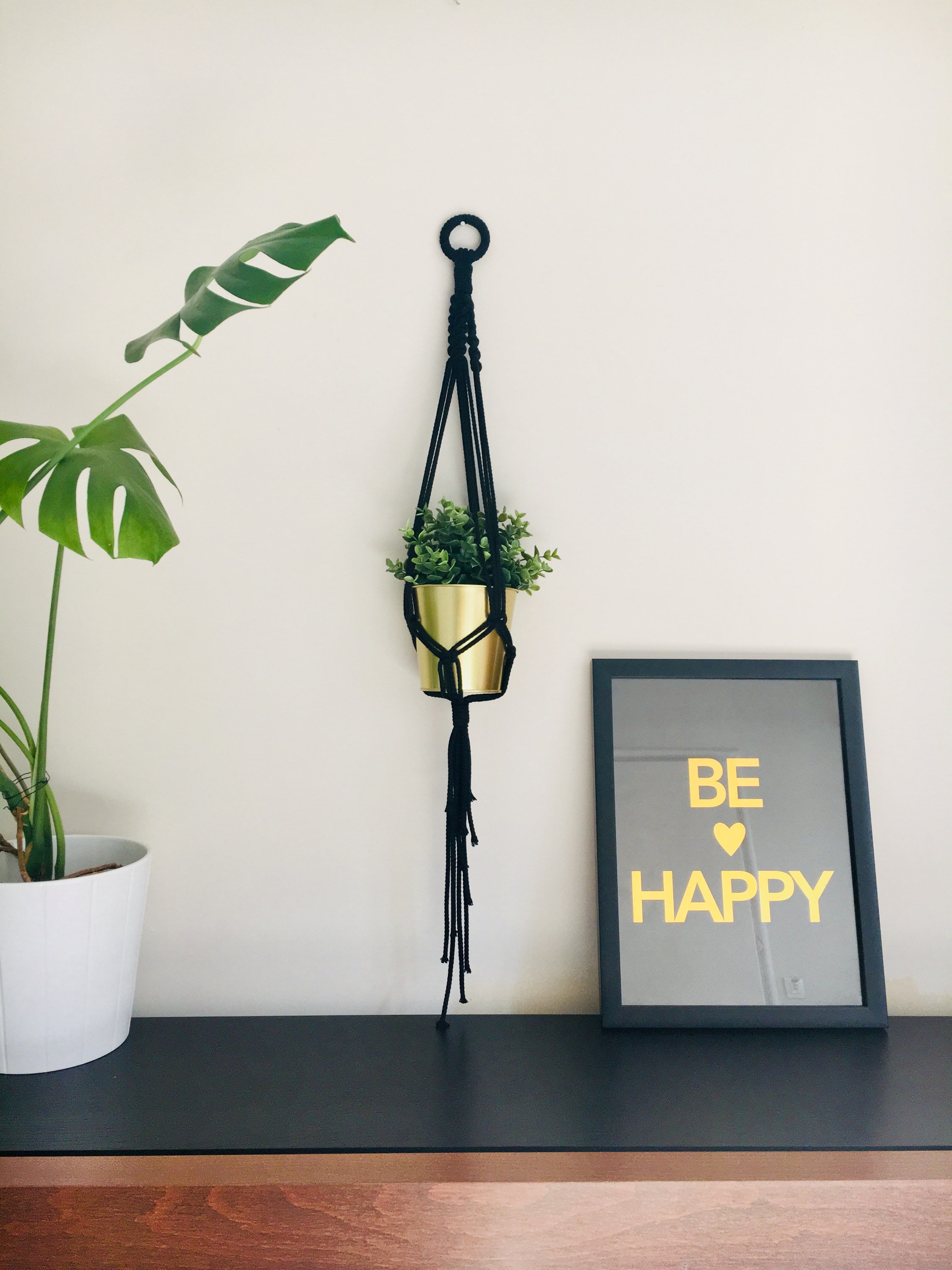 Black elegant macrame plant hanger - 100% cotton rope