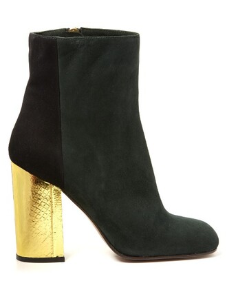 boots suede boots suede black green shoes