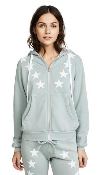 hoodie zip blue sweater