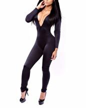 romper,black,deep v,plunge v neck,deep v neck romper,deep v neck jumpsuit,club jumpsuit,Bodycon Party Club Jumpsuit,sexy,sexy bodysuit,sexy bodysuits,bodycon,bodyconjumpsuit,bodycon top,long sleeves,long sleeve bodycon jumpsuit,long sleeve jumpsuit,clubwear,clubwear suit,clubbing suit,elastic,sexy club,rihanna catsuit,long jumpsuit,long romper,tight,fashion,fashion toast,party romper,party rompers,jumpsuit,leggings