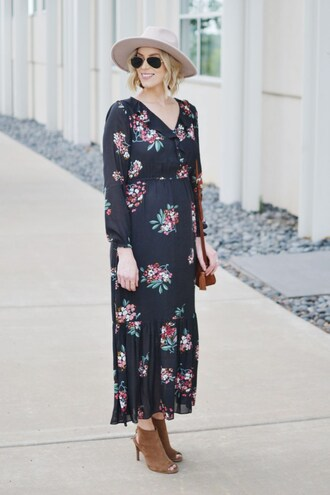 straight a style blogger jewels dress hat bag shoes sunglasses maxi dress floral maxi dress floral dress long sleeve dress rayban aviator sunglasses grey hat brown bag shoulder bag sandals slingbacks brown shoes high heels spring outfits