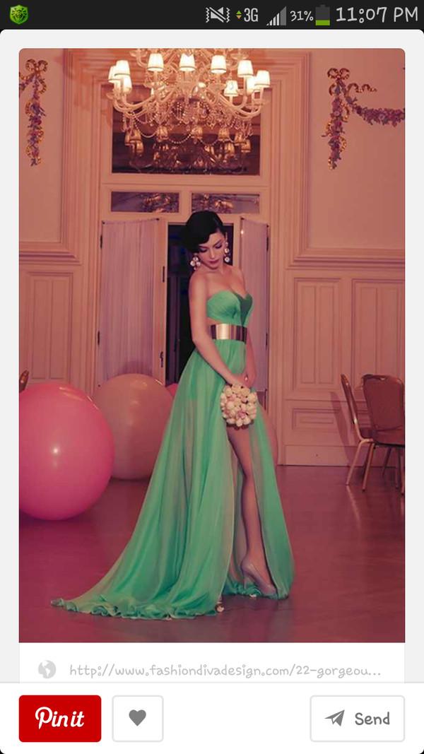 dress long prom dress belt green prom dress