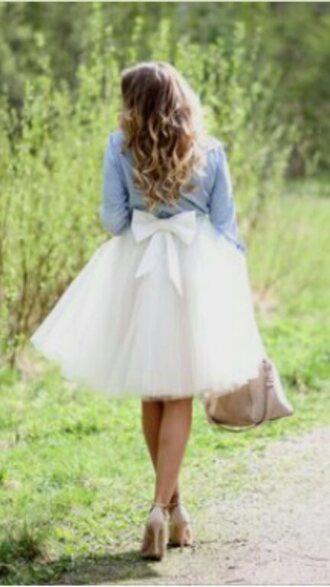 skirt white skirt white bow tulle skirt tutu