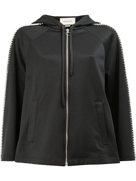 gucci jacket hooded jacket women embellished cotton black