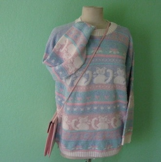 sweater pastel cats pastel goth fairy kei kawaii