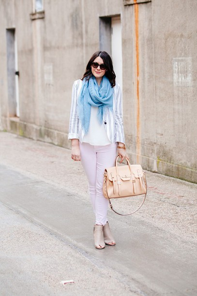 kendi everyday blogger jeans scarf peep toe heels satchel bag jacket blouse bag shoes sunglasses jewels