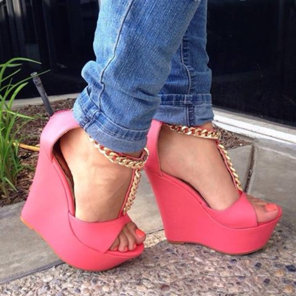 shoes wedges pink chain pinkwedges chain chainwedges summer shoes