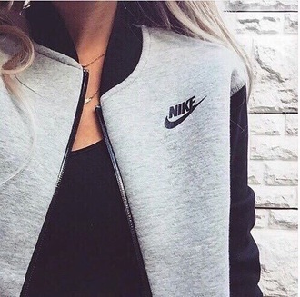 jacket nike grey nike sweater black sweater