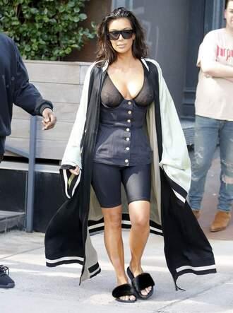 underwear bra belt cape coat slide shoes kim kardashian kardashians shoes