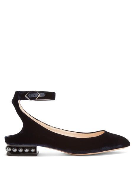 Nicholas Kirkwood ballet pearl flats ballet flats velvet navy shoes