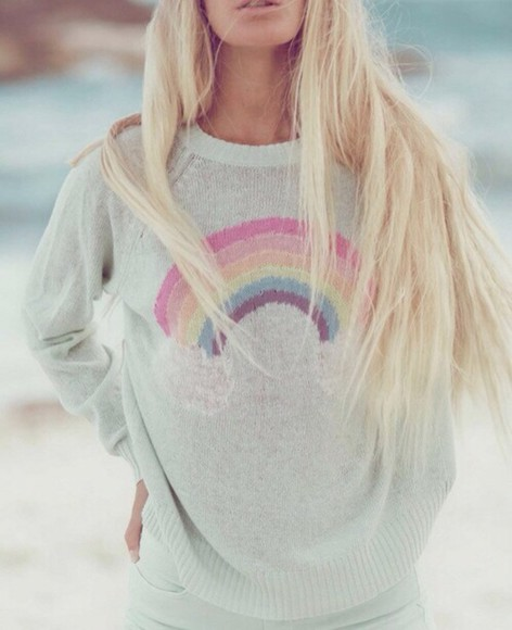 rainbow white sweater
