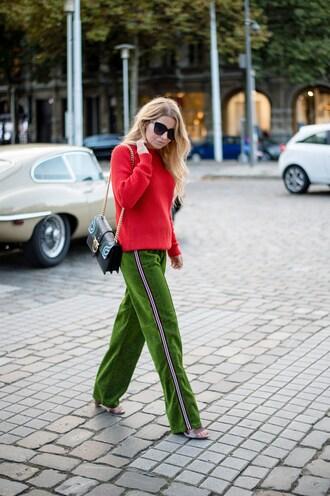 pants green pants tumblr side stripe pants wide-leg velvet pants sweater red sweater bag sunglasses