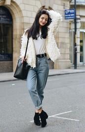 lolita mas,blogger,jacket,top,shoes,bag,belt,fluffy,white jacket,hipster,mom jeans,bucket bag,western belt,white fur jacket