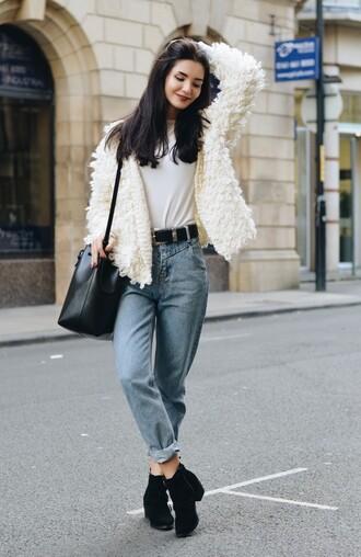 lolita mas blogger jacket top shoes bag belt fluffy white jacket hipster mom jeans bucket bag western belt white fur jacket