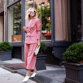pants,white shoes,tumblr,pink pants,cropped pants,matching set,power suit,two piece pantsuits,shoes,mules,blazer,pink blazer