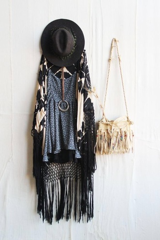 cardigan boho gypsy hipster black hat black and white hat fringe jacket bag dress