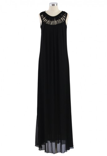 Cage Cut Out Neckline Maxi Dress in Black - Retro, Indie and Unique Fashion