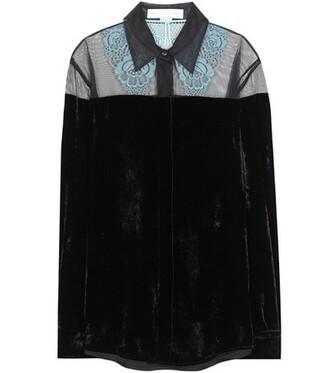 blouse mesh lace velvet black top