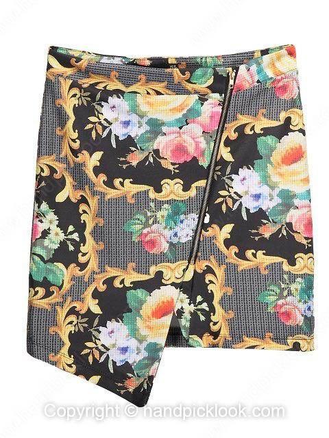 Multicolor Asymmetrical Floral Print Zipper Fly Skirt - HandpickLook.com