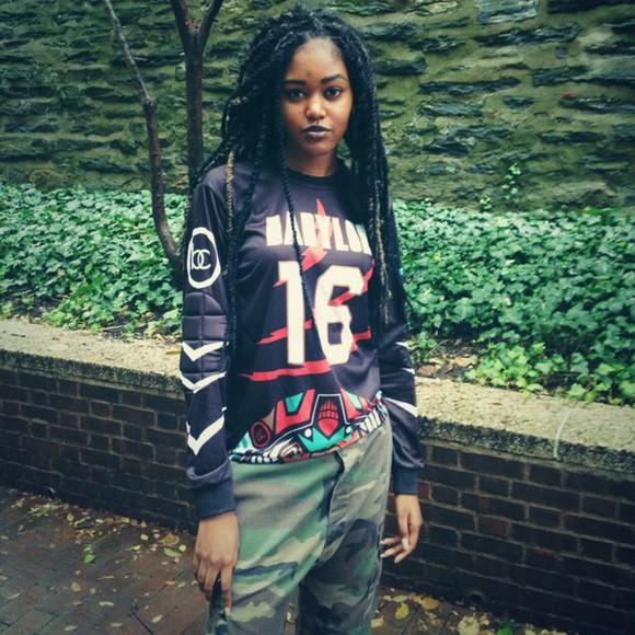 braid rapper babylon camouflage pants streetwear streetstyle goth