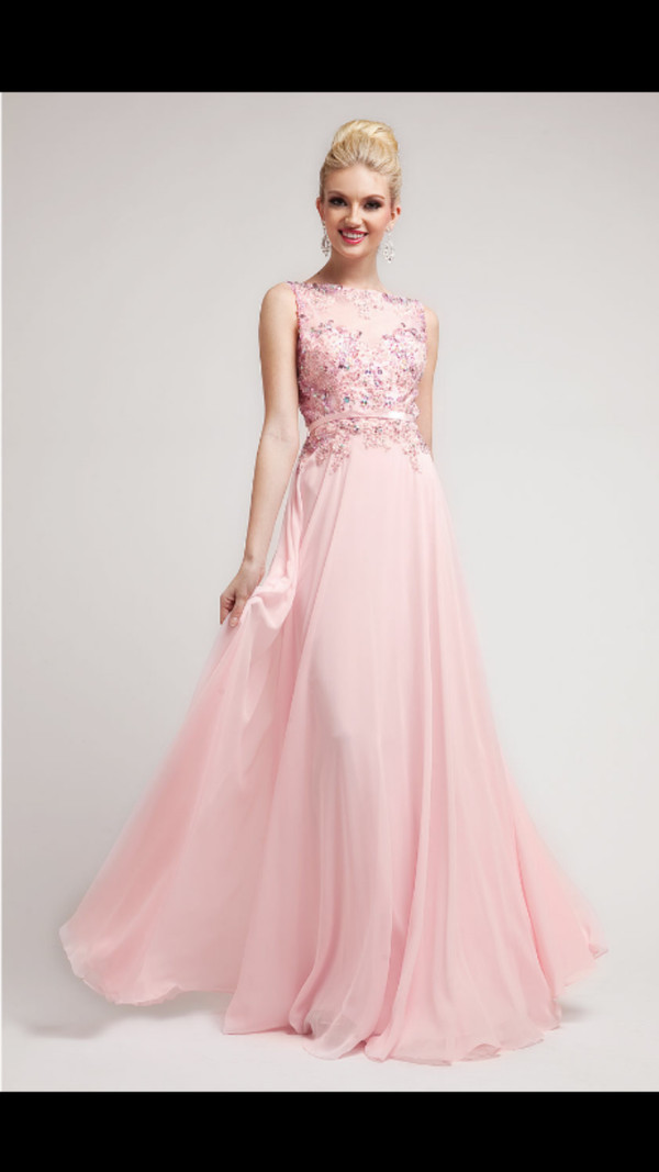 2014 Prom Dresses Baby Pink Beaded Lace Amp Chiffon Gown