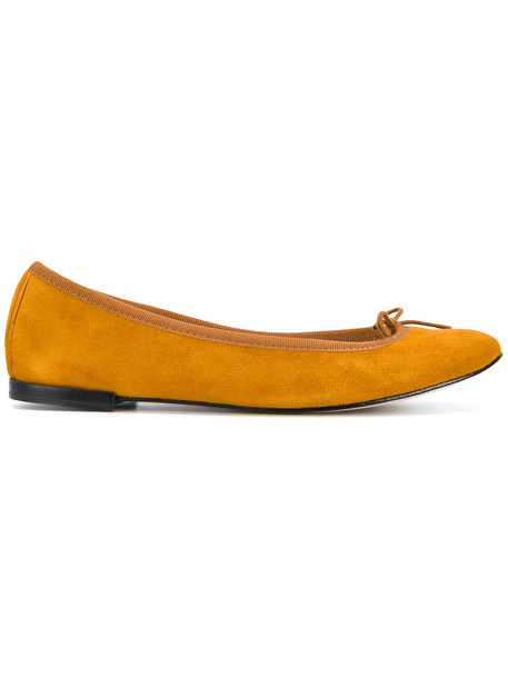Repetto women classic leather suede yellow orange shoes