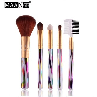 make-up makeup palette makeup brushes makeup table fashion girly holographic trendy