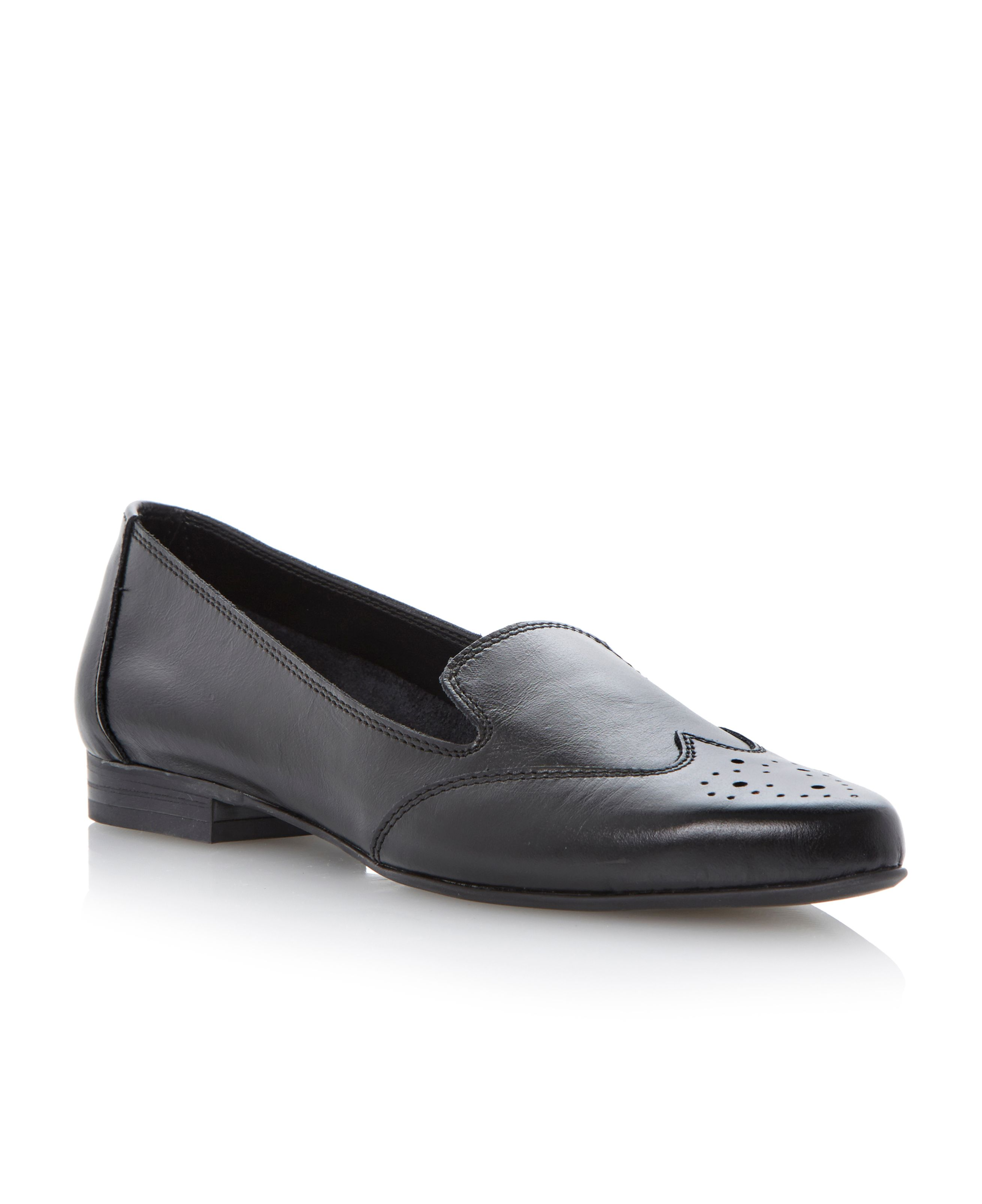 Dune Leeroy leather brogue detail loafer shoes Black Leather - House of Fraser