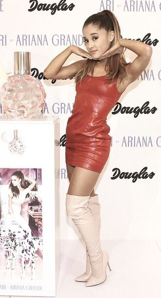 dress red dress leather leather dress ariana grande over the knee boots boots faux leather shoes mid heel boots