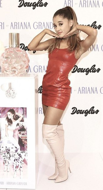 Dress: red dress, leather, leather dress, ariana grande, over the knee boots, boots, faux ...