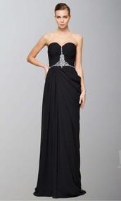 dress,side ruffles,prom dress,formal dress,evening dress,black,sweetheart dress,long prom dress