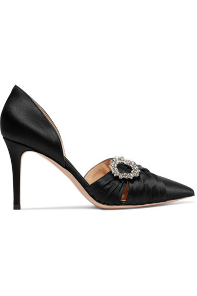 Gianvito Rossi embellished pumps black satin shoes