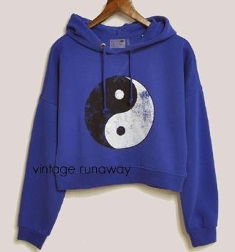sweater blue hoodie yin yang