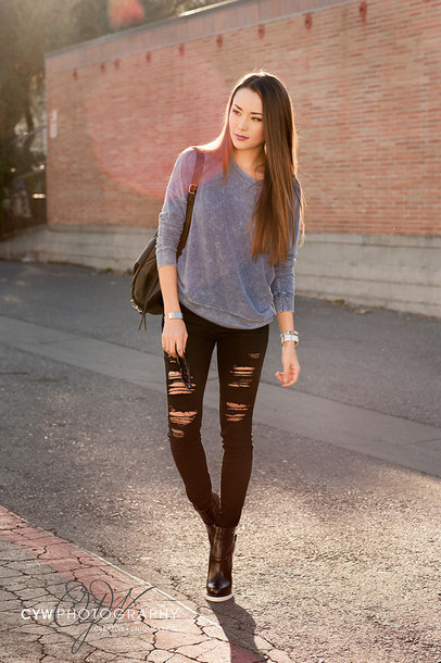 hapa time blogger black jeans ripped jeans grey sweater black ripped jeans sweater shoes jewels bag make-up