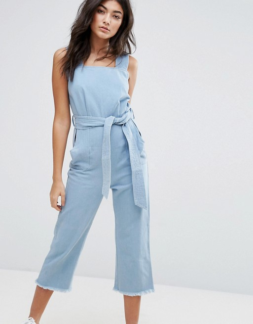 Liquor & Poker Wide Leg Raw Hem Dungaree with Tie Waist at asos.com