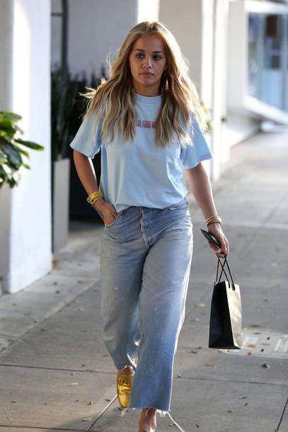 6731955931ba jeans wide-leg pants flare jeans rita ora t-shirt oversized frayed denim  cropped
