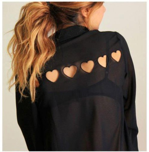blouse red hair shirt heart cut-out heart black cute cut-out heart cut out clothes transparent girl black shirt heart cutout back ponytail black heart black heart back top heart blouse black top heart cutout sheer blonde hair black dress boho shirt office outfits cute top holographic top