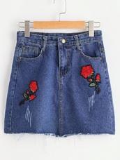 skirt,denim,denim skirt,embroidered