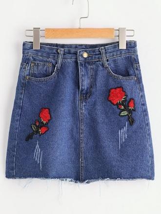 skirt denim denim skirt embroidered