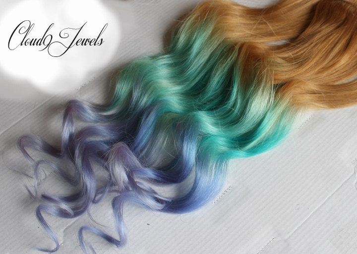 Pastel Clip In Hair Extensions Ombre Hair Mint Purple Ombre Dye