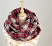 scarf,forgotten cotton,infinity scarf,plaid,red plaid,red,white,navy,tan,flannel scarf,red plaid scarf,long scarf