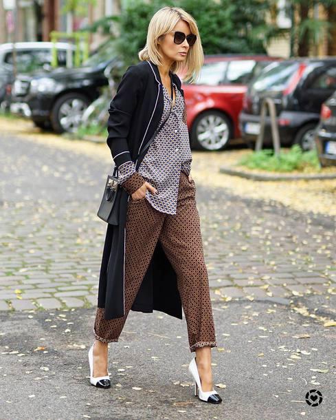 shirt tumblr pajama style pants brown pants shoes high heel pumps pumps coat black coat sunglasses bag