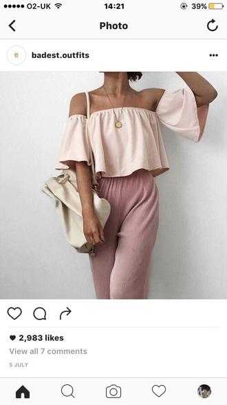 top rose pink no shoulders crop-top