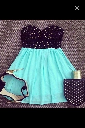 dress blue dress pastel heels high heels leather studs studded dress neon mint mini dress strapless