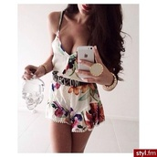 dress,foral,romper,cute,gold belt,belt,floral,bag,flowers,white,bright,jewels,water bottle,jumpsuit,pink flowers,spaghetti strap,moschino belt,girly,summer,shorts