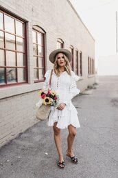 dress,ruffle dress,slide shoes,straw hat,woven bag,mini dress