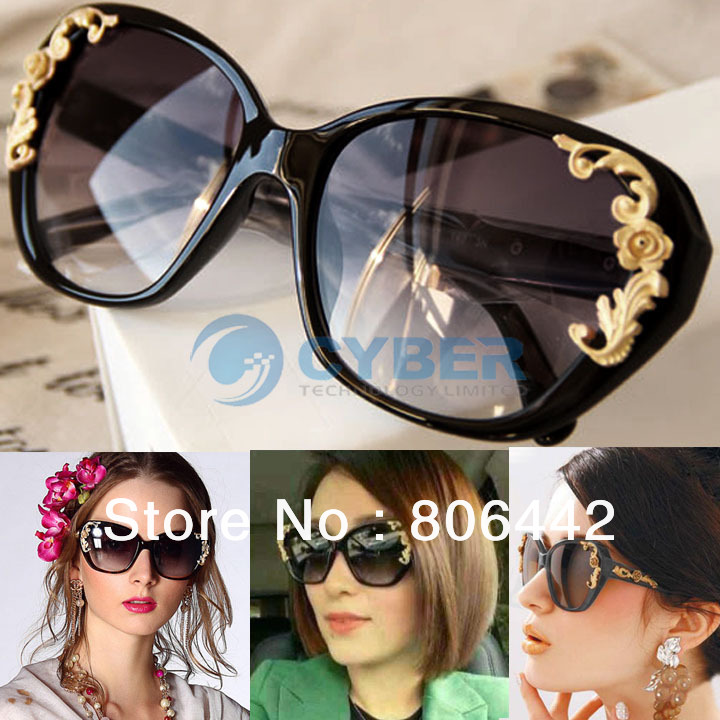 0629f232845e Women s Stylish Vintage Gold Tone Roses Carving Oversize Black Frame  Sunglasses Lady Sun Glasses B16 ...