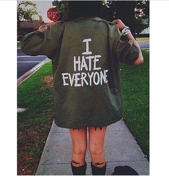 jacket coat green i hate everyone grunge sleeves style quote on it